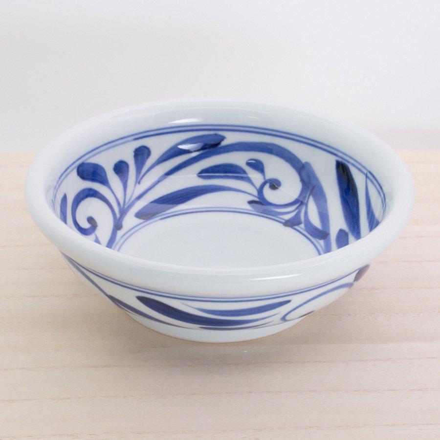 砥部焼・千山窯 − 玉ぶち鉢(大) 唐草