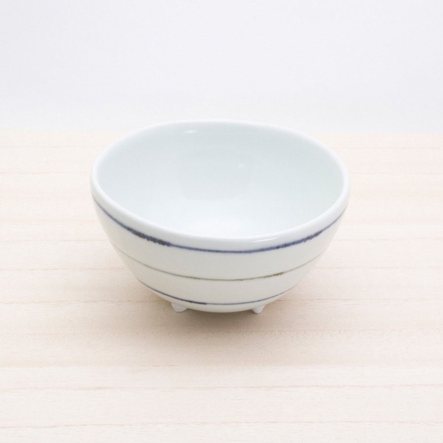 砥部焼・梅乃瀬窯 − 足付コロコロ鉢(小) 象嵌 ボーダー