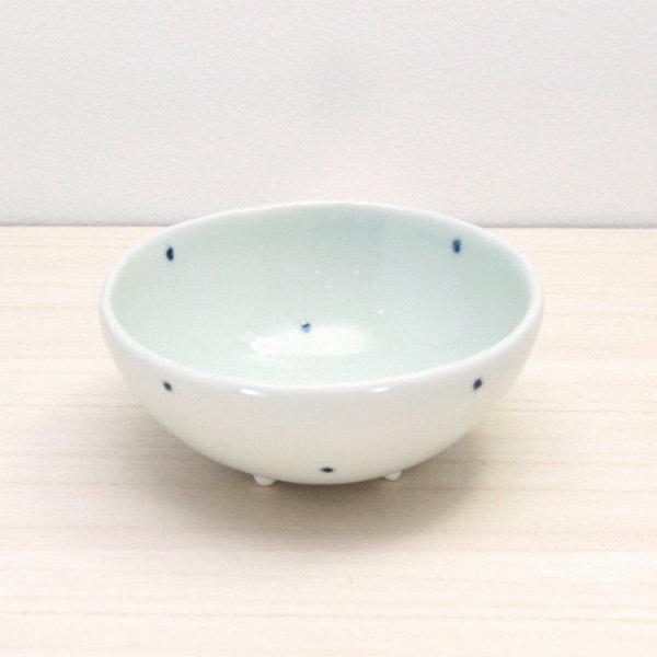 砥部焼・梅乃瀬窯 − 足付コロコロ鉢(大) 象嵌 ドット