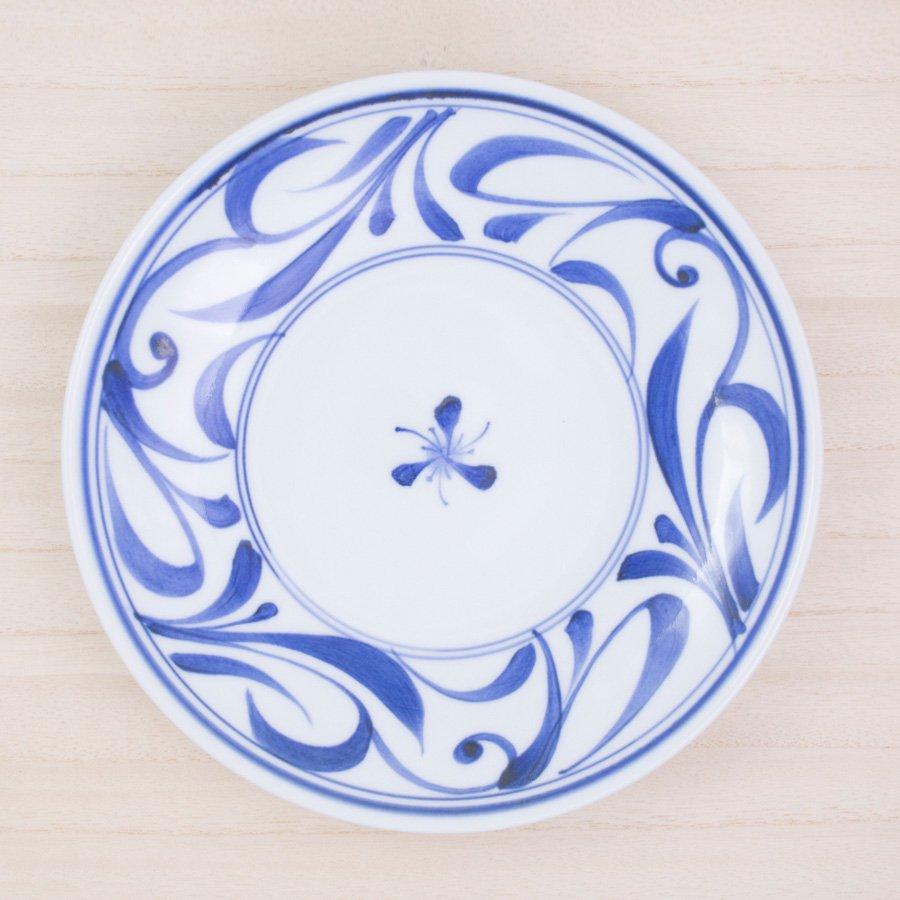 砥部焼・千山窯 − 7寸丸皿 唐草
