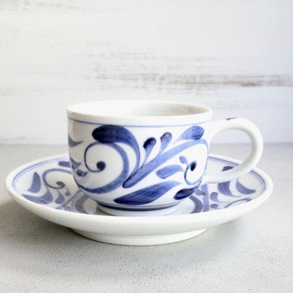 砥部焼・千山窯 − 丸コーヒーカップ 唐草