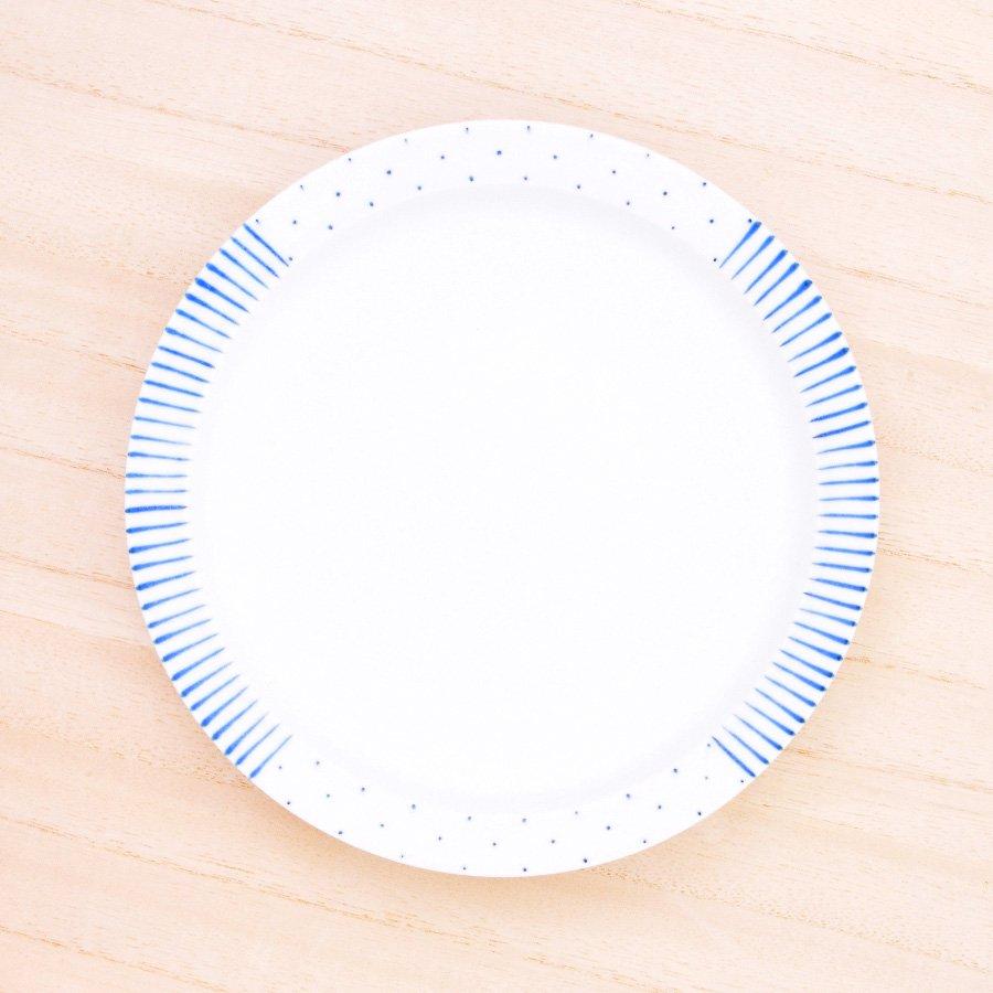 砥部焼・すこし屋 − 5.5寸皿 青十草×呉須ドットmix