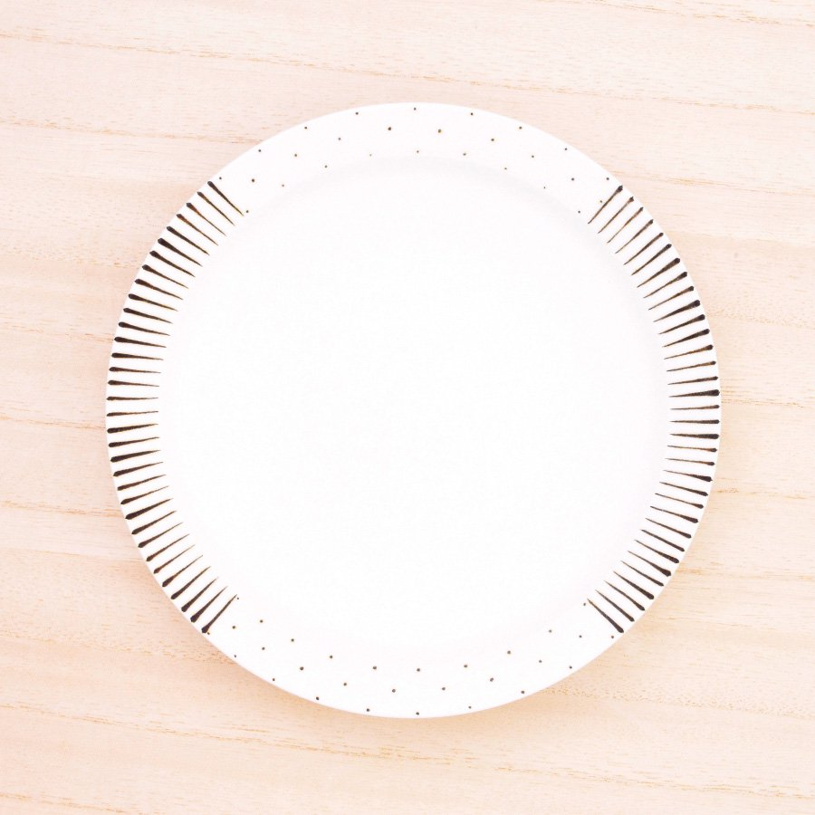 砥部焼・すこし屋 − 5.5寸皿 十草×鉄ドットmix