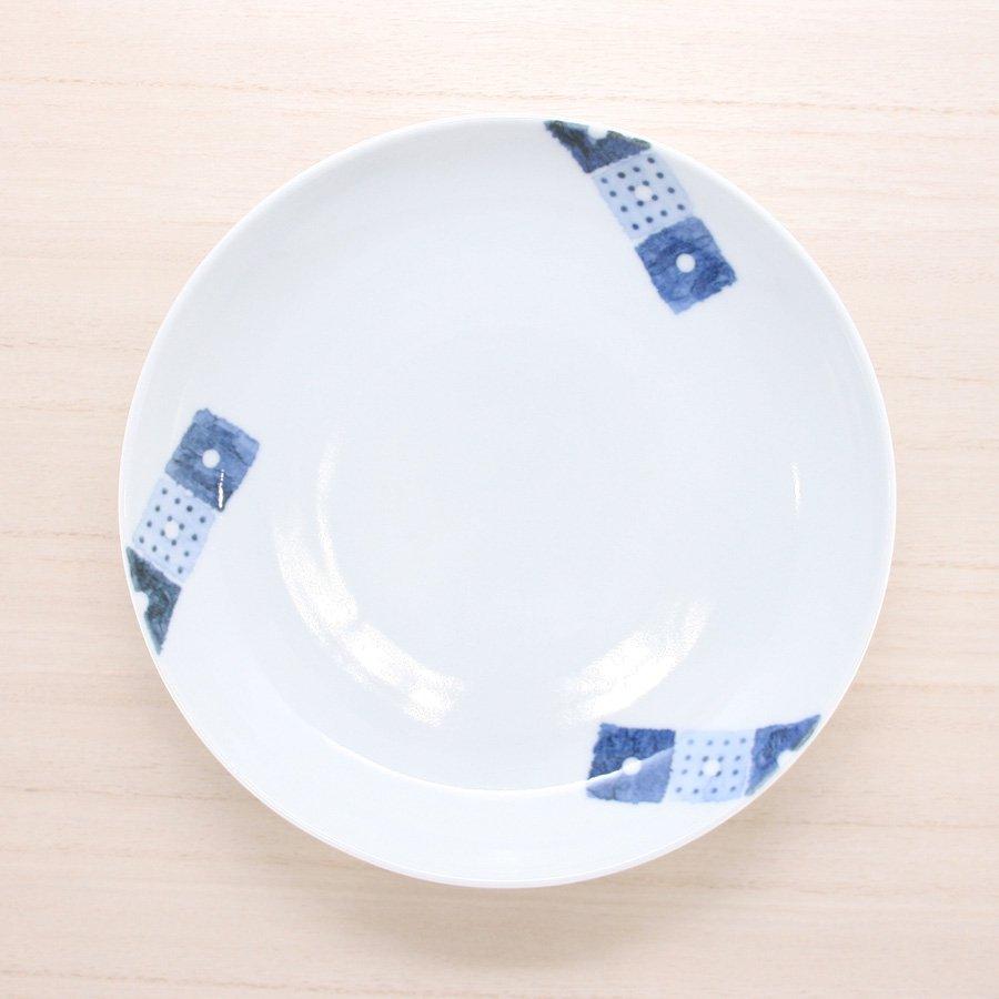 砥部焼・イロリ工房 − 6寸皿 オビシカク