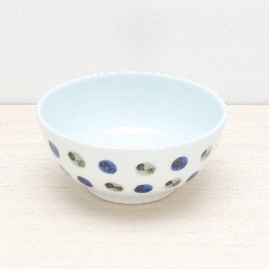 砥部焼・五松園窯 − 丸鉢 (中) 鉄水玉