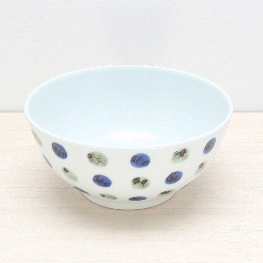 砥部焼・五松園窯 − 丸鉢 (大) 鉄水玉