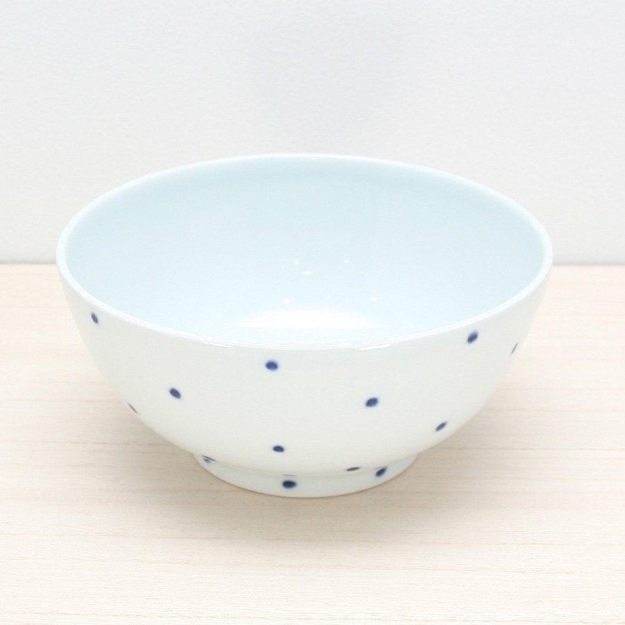 砥部焼・五松園窯 − 丸鉢 (大) 水玉