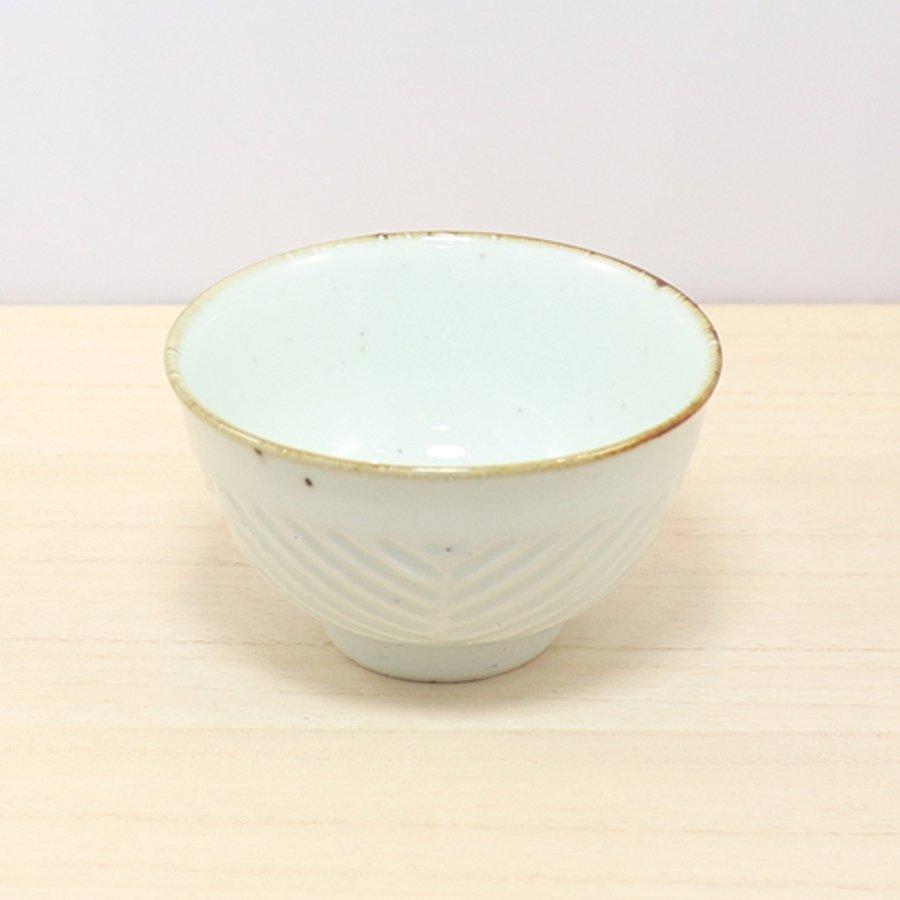 砥部焼・皐月窯 − 茶碗 ヘリンボーン