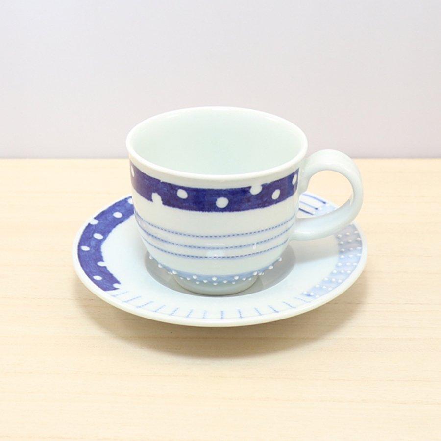 砥部焼・皐月窯 − コーヒーカップ&ソーサー 3種ボーダー