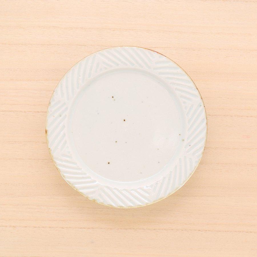 砥部焼・皐月窯 − 5寸リム皿 ヘリンボーン