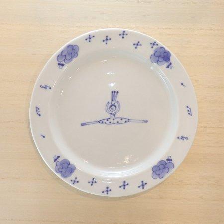 砥部焼・森陶房 − リム皿 大 バレリーナ 水玉