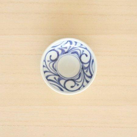 砥部焼・梅山窯 − 3寸丸皿 唐草