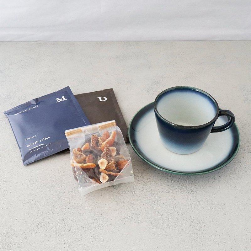 砥部焼・ヨシュア工房 − コーヒーカップ&ソーサー ヨシュアブルー [マンディアンセット]