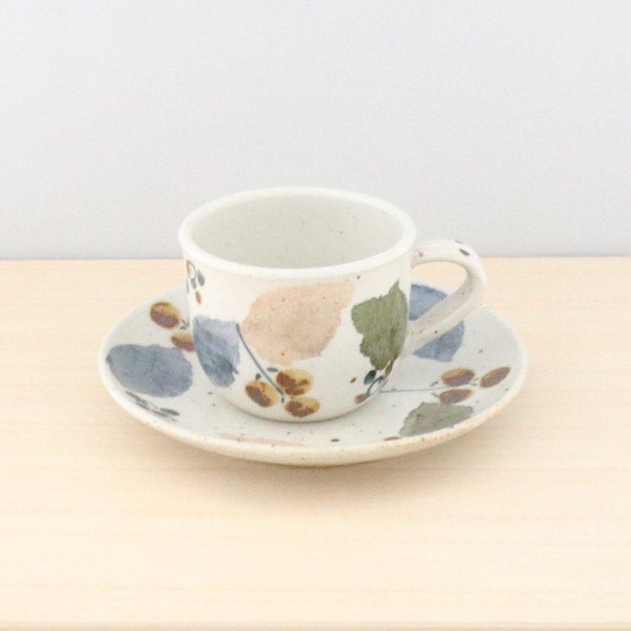 砥部焼・森陶房 − カップ&ソーサー 木の葉 [ロッシェセット]