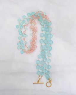 グリーン&ピンクカルセドニーの2連ネックレス