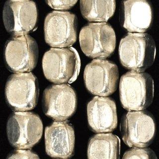 シルバープレーテドメタルラウンドレクタングルビーズ5-6mm