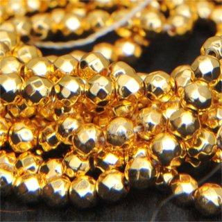 ゴールドプレーテドヘマタイトファセッテドペンタゴン約3.5-3.5-3.5mm