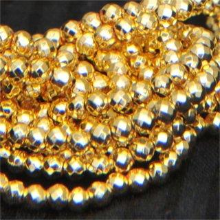ゴールドプレーテドヘマタイトファセッテドラウンド約2-2-2mm