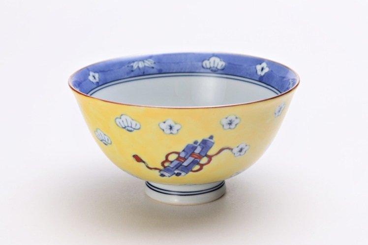徳七窯 染錦黄濃宝袋 茶付(大) 画像メイン