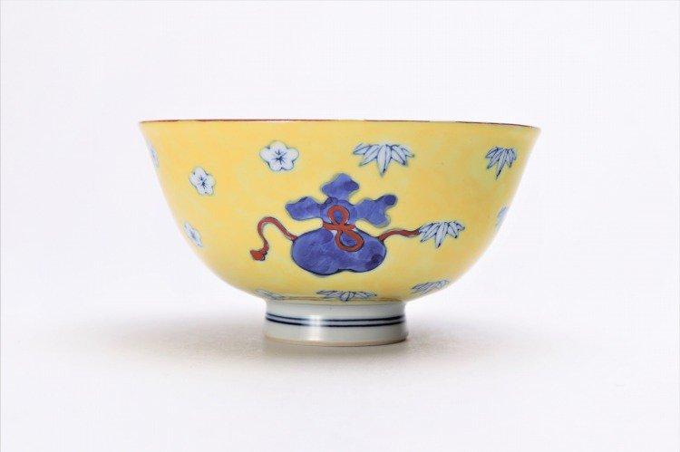 徳七窯 染錦黄濃宝袋 茶付(大) 画像サブ2