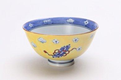 徳七窯 染錦黄濃宝袋 茶付(大)