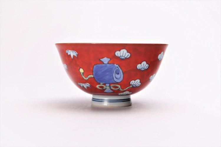 徳七窯 染錦赤濃宝袋 茶付(小) 画像サブ3