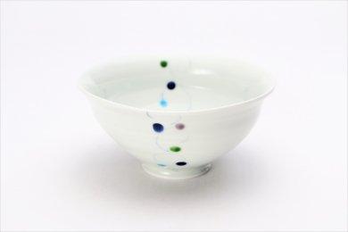 一峰窯 色珠(帯)青 ひねり飯碗(大)