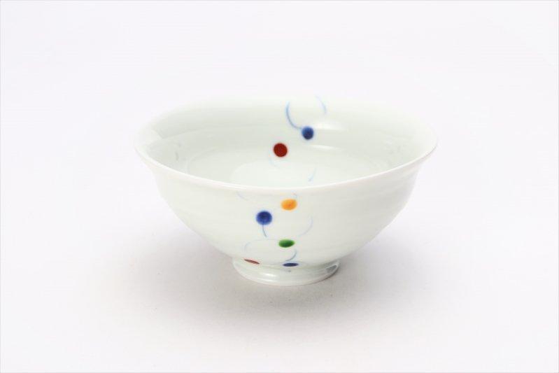 一峰窯 色珠(帯)朱 ひねり飯碗(小) 画像メイン