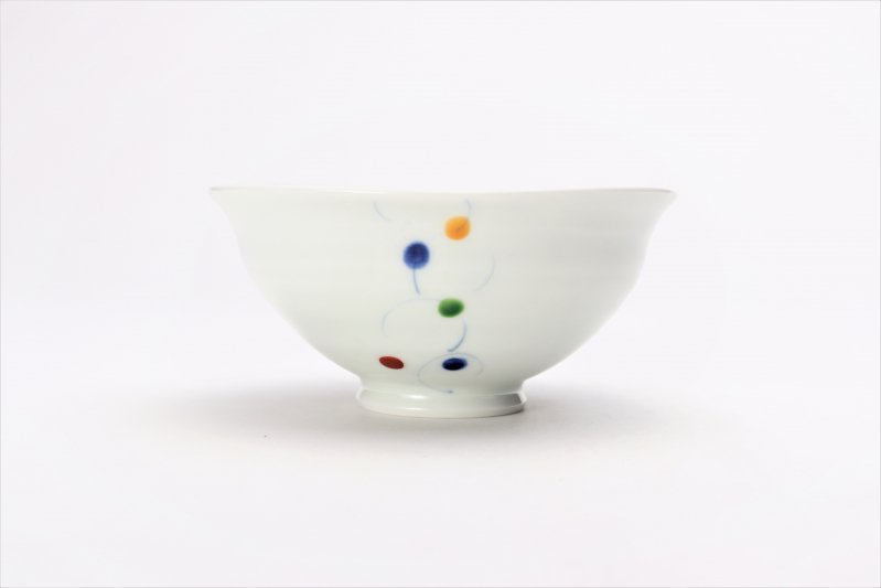 一峰窯 色珠(帯)朱 ひねり飯碗(小) 画像サブ1