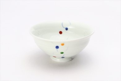 一峰窯 色珠(帯)朱 ひねり飯碗(小)