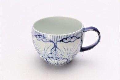 そうた窯 染付花弁紋 丸スープカップ(青)