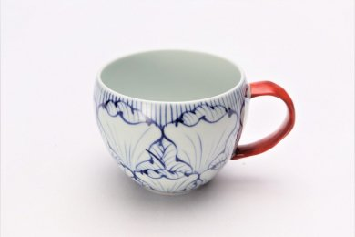 そうた窯 染付花弁紋 丸スープカップ(赤)