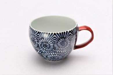 そうた窯 染付蛸唐草 丸スープカップ(赤)