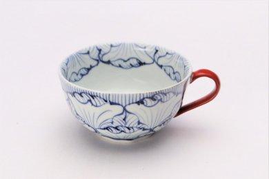 そうた窯 染付花弁紋 スープカップ(赤)