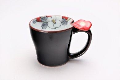 仙右ェ門窯 花絵蒔 花マグカップ(小) 赤