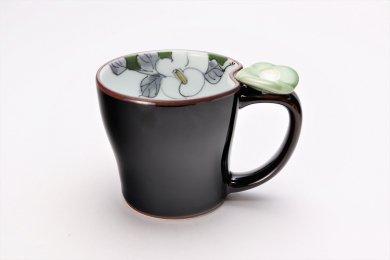 仙右ェ門窯 花絵蒔 花マグカップ(小) 緑