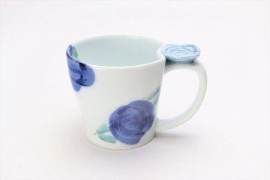 仙右ェ門窯 染付バラ 花マグカップ(小) 青