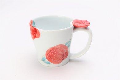 仙右ェ門窯 染付バラ 花マグカップ(小) 赤