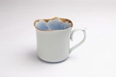 文山窯 金牡丹 輪花マグカップ