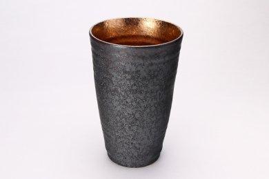 陶悦窯 黒晶掛分内金塗り 特大フリーカップ