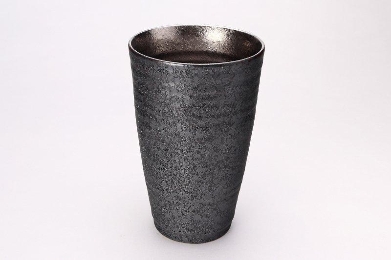 陶悦窯 黒晶掛分内銀塗り 特大フリーカップ 画像メイン