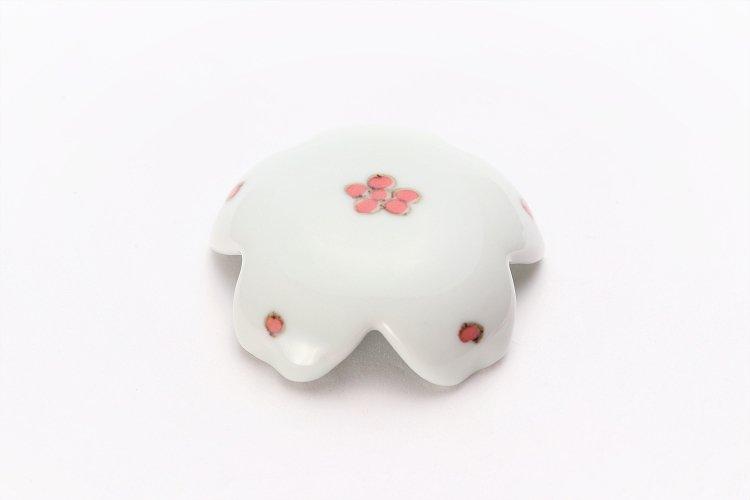 楽々シリーズ 染付赤小花紋 桜型排水口カバー 画像メイン