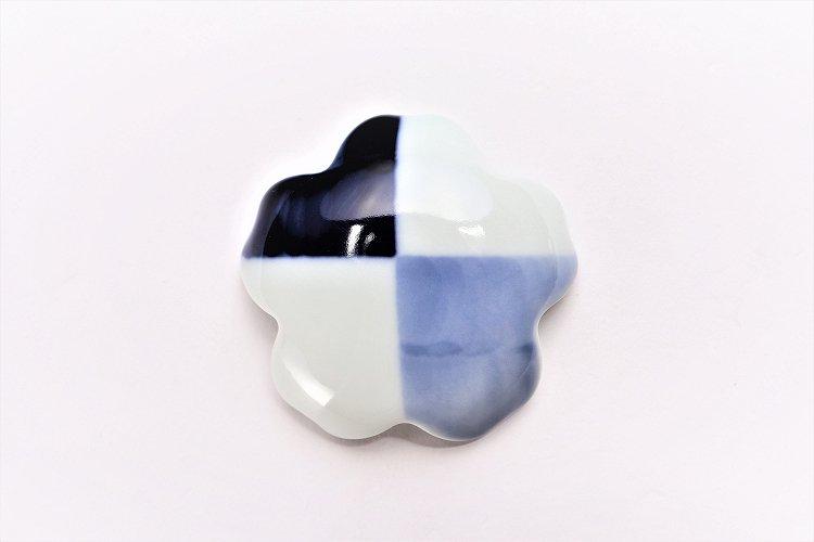 楽々シリーズ 染付和市松 桜型排水口カバー 画像サブ2