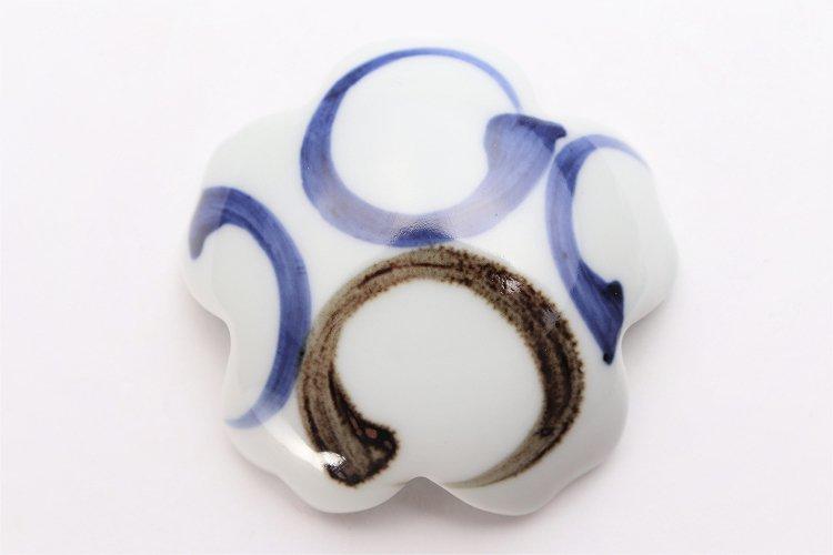 そうた窯 染付二色丸紋 桜型排水口カバー 画像サブ3