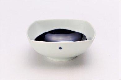 染付渦紋 正角浅鉢