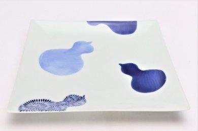 そうた窯 染付瓢絵 7.5寸正角皿
