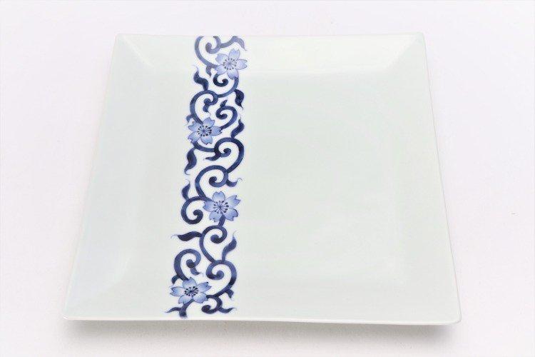 そうた窯 染付桜唐草 7.5寸正角皿 画像サブ2