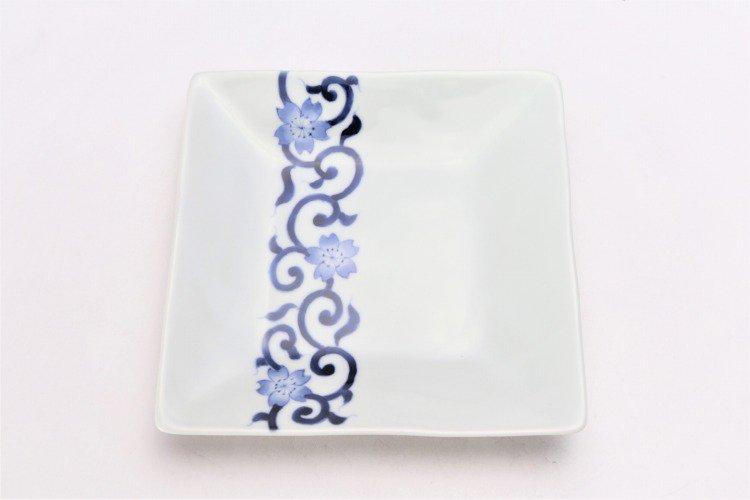 染付桜唐草 正角皿 画像サブ2
