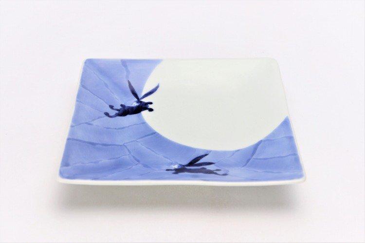 そうた窯 染付和兎 正角皿 画像メイン