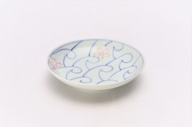 染付波桜 3.5寸多用皿